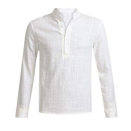 HWTOP Herren Henley Shirt Leinen Hemd Langarm V-Ausschnitt Button Up Männlich Casual Business Fit Bluse