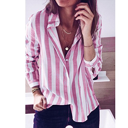 Longue Haut Rayure Tee Shirt Shirt Mode Dihope Femme Chemisier Chic Tunique Tee Rose Chemise Manche Casual 1wgxTnfqIA