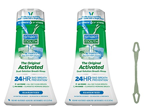 Bad Breath Prevention, SmartMouth Original Activated Mouthwash 2PK for 24-Hour Bad Breath Protection Plus Tongue Cleaner