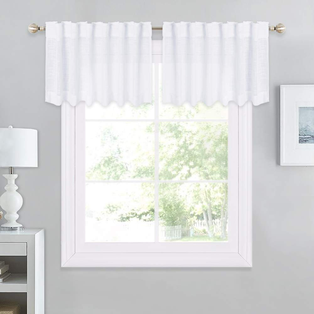 "NICETOWN Linen Textured Look Valance - Rod Pocket & Back Tab Voile Sheer Kitchen Valances for Windows, Thick and Soft Sheer Curtains (White, 52"" Wide x 18"" Long, Sold by 2 Pieces)"