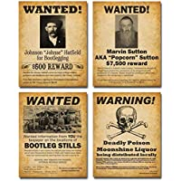 Bootleggers Wanted Art Prints - Set of Four Photos (8x10) Unframed - Makes a Great Gift Under $20 for Home Brewers, Home Bars or Man Cave Decor