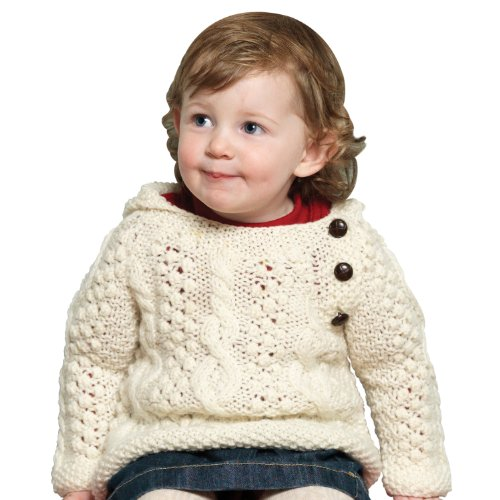 100% Irish Merino Wool Baby Sweater with Side Fastening and a Hood by Carraig - Sweater Beautiful Baby Wool