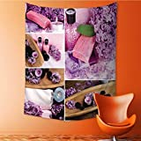 Auraisehome Vertical Version Tapestry Lilac spa compositions in Collage Throw, Bed, Tapestry, or Yoga Blanket 54W x 72L INCH