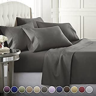 Danjor Linens 6 Piece Hotel Luxury Soft 1800 Series Premium Bed Sheets Set, Deep Pockets, Hypoallergenic, Wrinkle & Fade Resistant Bedding Set(King, Gray)