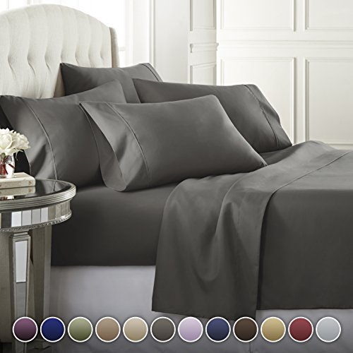 6 Piece Hotel Luxury Soft 1800 Series Premium Bed Sheets Set, Deep Pockets, Hypoallergenic, Wrinkle & Fade Resistant Bedding Set(Queen, Gray) ()