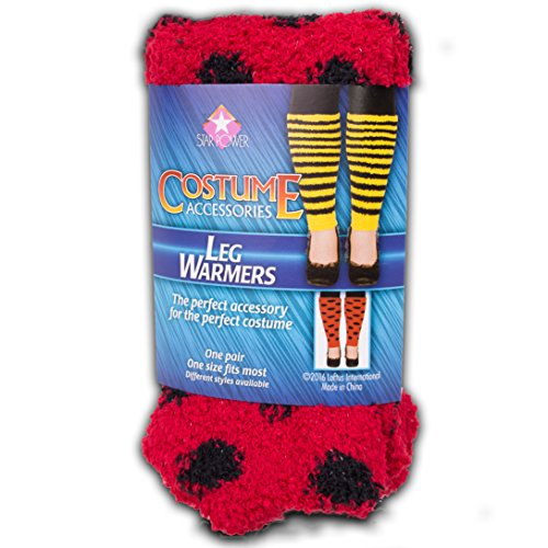 [Star Power Women Ladybug Leg Warmer 2pc Leg Warmers, Red Black, One-Size (14