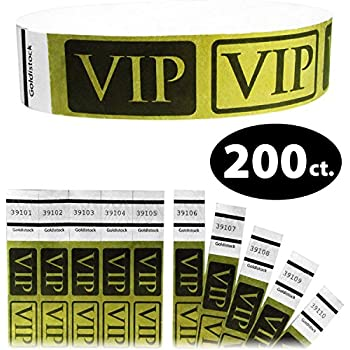 Tyvek Wristbands - Goldistock VIP Deluxe Metallic Gold 200 Count - ¾