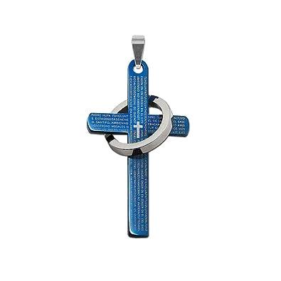 edd4a5a3af0f tumundo Colgante Acero INOX Azul Plata para Collar Cadena Mujer ...