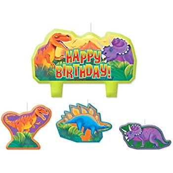 Amscan Charming Prehistoric Party Character Themed Candles Yellow Orange Red Purple