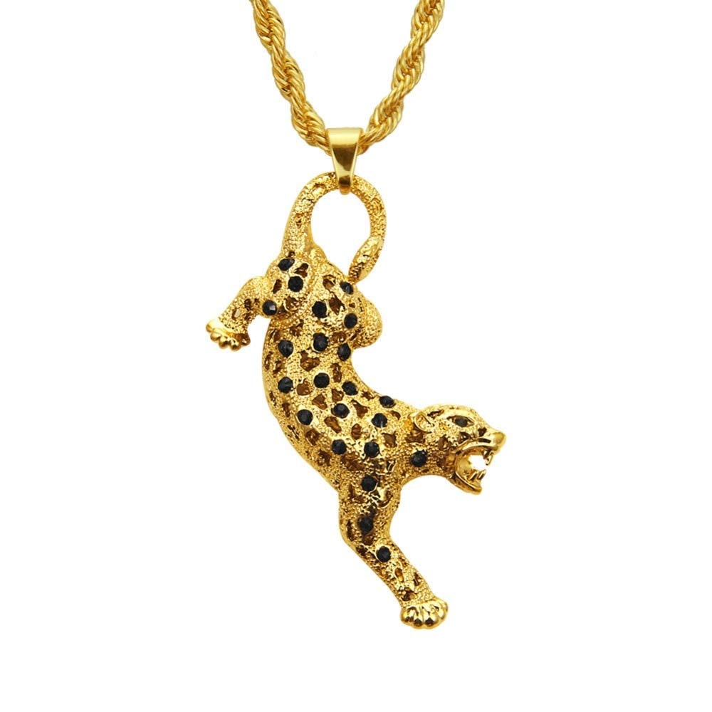 Davitu Crystal Hip-hop Hollow Leopard Pendant Necklace for Women Gold with 74cm Chain Necklace Statement Accessories Metal Color: az-2