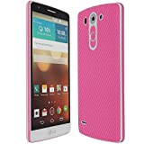 Skinomi TechSkin - LG G3 Vigor Screen Protector + Pink Carbon Fiber Full Body Skin Protector / Front & Back Wrap / HD Clear Film / Ultra Invisible & Anti-Bubble Shield