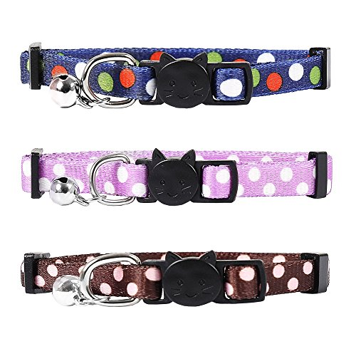 SCENEREAL Breakaway Cat Collar with Bell 3Pcs/set Outdoor Safety Cute Soft Cat Collars Accessories for Kitten Dots Printing Adjustable from 8-11'