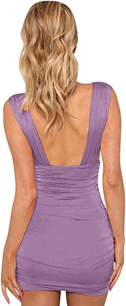 Women's Sexy Bodycon Sleeveless Ruched Party Mini Cocktail DressWomen's Sexy Bodycon Sleeveless Ruched Party Mini Cocktail Dress