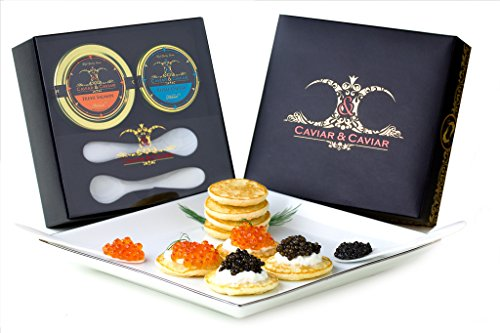 (GUARANTEED OVERNIGHT! Caviar Gift - 1oz Royal Osetra - 2oz Fresh Alaskan Salmon Keta Roe + FREE 2 Mother of Pearl Spoons)