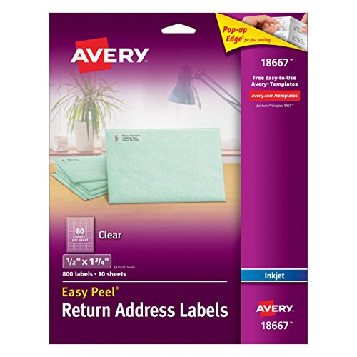 Avery Clear Easy Peel Return Address Labels 1/2' x 1-3/4', Pack of 800 (18667)