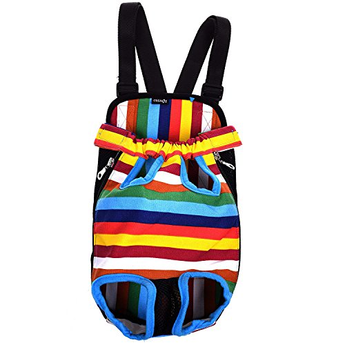 - Cosmos Large Size Colorful Strip Pattern Pet Dog Legs Out Front Carrier Bag