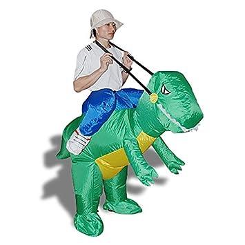 disfraz de explorador sobre dinosaurio para fiesta de disfraces disfraz muy divertido