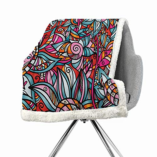 - BenmoHouse Abstract Berber Fleece Digital Printing Blanket 60 by 78 Inch Heavy Sherpa Multicolor Colorful Florals Sunflower Mosaic Curl Ornaments Stained Glass Inspired Design