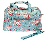 Overnight Bag for Women, great Weekend Bag or Carry On Travel bag for women. Blue Floral design in Oilcloth fabric by Lindy Lou