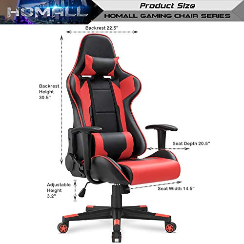 Homall Gaming Chair Racing Style High-Back Faux Leather Office Chair Computer Desk Chair Executive and Ergonomic Style Swivel Chair with Headrest and Lumbar Support(Red) by Homall (Image #6)
