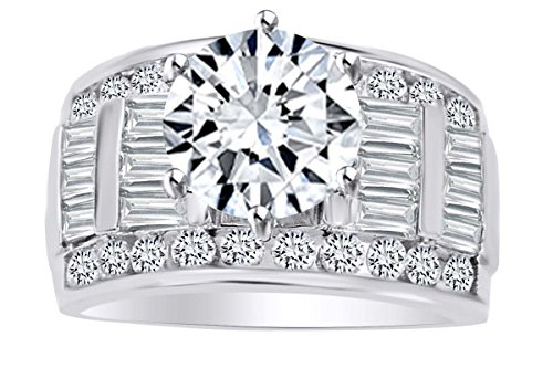 AFFY Round & Baguette Shape White Cubic Zirconia Solitaire Engagement Ring in 14k Solid White Gold (2.00 cttw) Ring - Shape Solitaire Baguette
