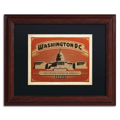 Washington DC II Canvas Art by Anderson Design Group, 11 by 14-Inch, Black Matte with Wood Frame