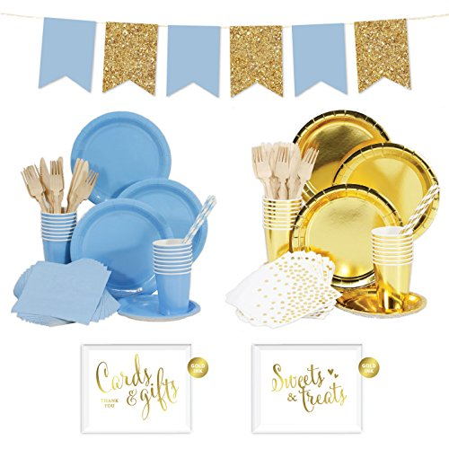 Andaz Press Complete 140-Piece Tableware Kit for 16 Guests, Baby Blue and Gold, With Plates, Cups, Napkins, Cutlery, Straws, Signs, Banner Decorations, 1-Set, Boy's 1st Birthday Baby Shower (Blue And Gold Baby Shower)
