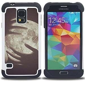 """SAMSUNG Galaxy S5 V / i9600 / SM-G900 - 3 en 1 impreso colorido de Altas Prestaciones PC Funda chaqueta Negro cubierta gel silicona suave (Arte Vignette Significado del Espacio Profundo"""")"""