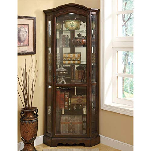 (5-Shelf Corner Curio Cabinet Medium Brown and Clear)