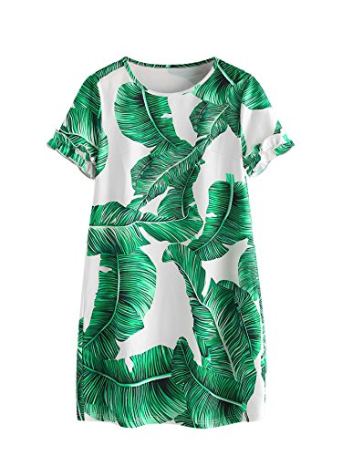 Floerns Women's Palm Leaf Print Short Sleeve Summer Dress Green XL]()