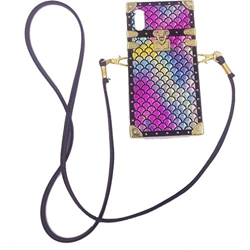 Square Mermaid Little - Crossbody iPhone Case,Mermaid iPhone X Case,Square iPhone Xs Case with Shoulder Strap,Easeu Color Changing Fish Scale PU Phone Case for iPhone X/iPhone Xs 5.8 inch
