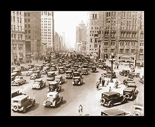 8 x 10 All Wood Framed Photo Chicago - Michigan Ave - Rush Hour - Looking N From Near Wrigley - - And Michigan Chicago Ave