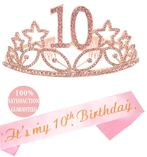 10th Birthday Tiara and Sash Pink, Happy 10th Birthday Party Supplies, It's My 10th Birthday and Crystal Tiara Birthday Crown for 10th Birthday Party Supplies and Decorations (Pink)