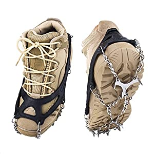Springk Traction Cleats Snow Grips Ice Creepers,Anti Slip 12 Stainless Steel Microspikes Crampons with 1 Free Portable Bag for Men Women Walking Jogging Hiking and Mountaineering(Black, Large)