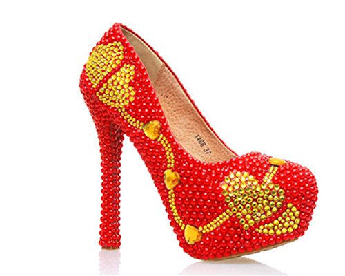 MNII Women's Red Flowers Heart-Shaped Crystal Court Shoes Bridesmaids Rhinestone Pumps Stiletto High Heel Bridal Wedding Shoes- Good Quality Color qQWIJHTxy