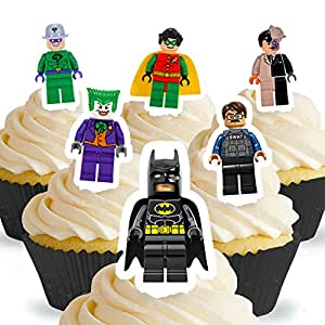 Cakeshop 12 X PRE CUT Lego Batman Stand Up Edible Cake Toppers
