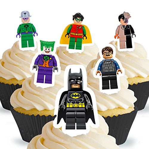 Cakeshop 12 x PRE-CUT Lego Batman Stand Up Edible Cake -