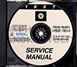 1987 DODGE RAM TRUCK & PICKUP REPAIR SHOP & SERVICE MANUAL CD including D & W 150, 250, 350, S, Wagon, Sport Utility, Conventional & Club Cab, Ramcharger 2wd, 4wd