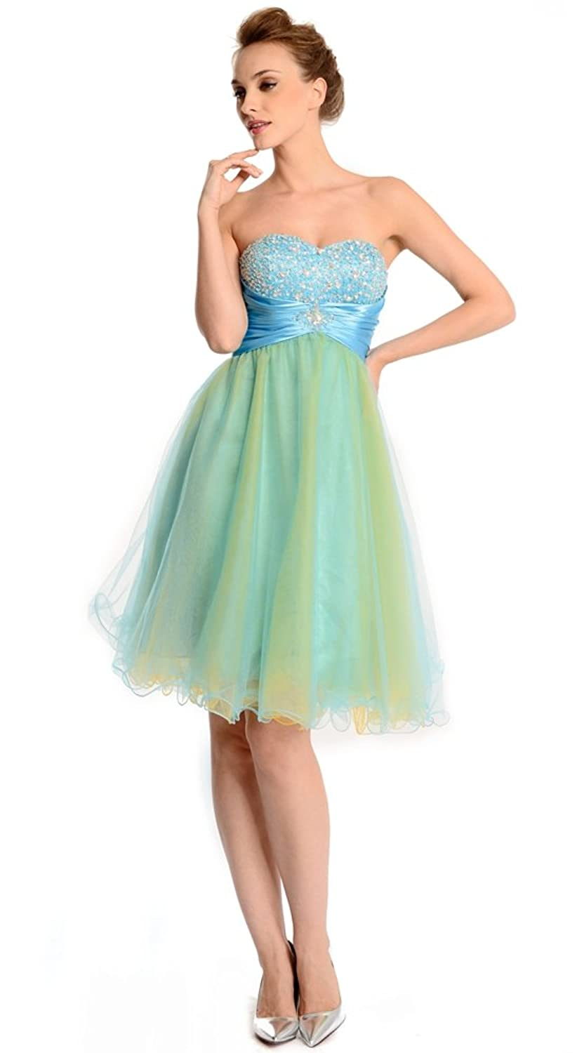 Amadeo Elegant Strapless Sweetheart Beading Short Blue Homecoming Dresses LF048