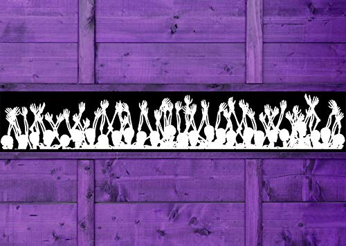 Halloween Decorations Border Wall Decal Wallpaper Paper Skulls Skull Decor Skeleton Decal Vinyl Sticker Goth Gothic Home Holiday and Stick Made in USA]()