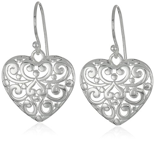 Sterling Silver Filigree Heart Dangle Drop Earrings