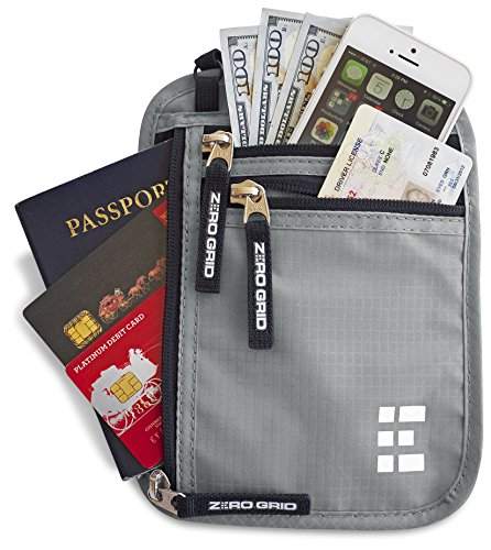 Zero-Grid-Neck-Wallet-wRFID-Blocking-Concealed-Travel-Pouch-Passport-Holder