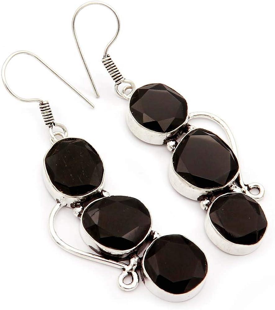 Goyal Crafts GEC12 - Pendientes de ónice negro natural con piedras de fusión chapados en plata, hechos a mano