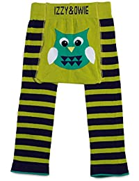 Izzie and Owie Baby Leggings (12-24 Months, Green and Navy: Owl)