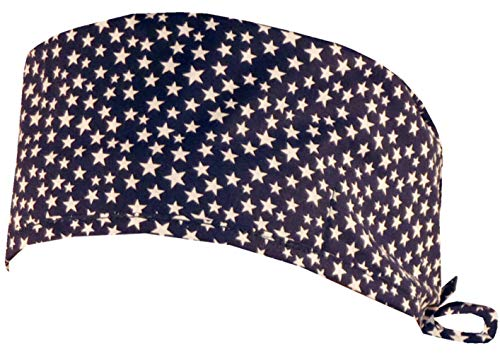 Mens and Womens Surgical Scrub Cap - Small Stars on Navy