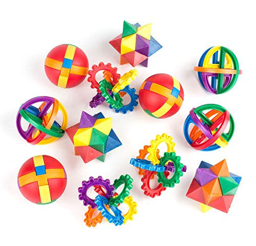 "Fun Puzzle Balls by Neliblu - Bulk Party Favors - Easter Basket Fillers - Easter Party Games - Fidget Brain Teaser Puzzles 2.5"" - 1 Dozen Bulk Pack Assorted styles"