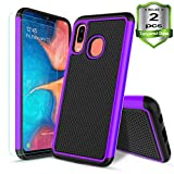 Samsung Galaxy A20/A30 Case,W/[2-Pack]Tempered Glass Screen Protector Dual Layers Heavy Duty Protective Hard PC Football Lines Design Back Soft TPU Rubber Armor Defender Shockproof Phone Case.(Purple)