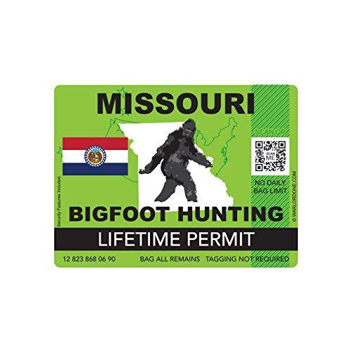 Missouri Bigfoot Hunting Permit Sticker Die Cut Decal Sasquatch Lifetime FA Vinyl
