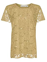 New Womens Plus Size Cap Sleeve Floral Lace Sequins Lined Tops M-2X