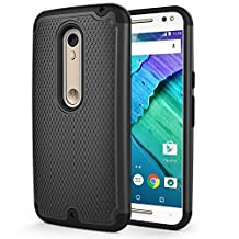 Moto X Pure Edition Case, MoKo [Shock Absorption] Slim Dual Layer Protective Case with Soft Silicone Bumper and Rigid PC Back Cover for Moto X Pure Edition / Moto X Style - Black